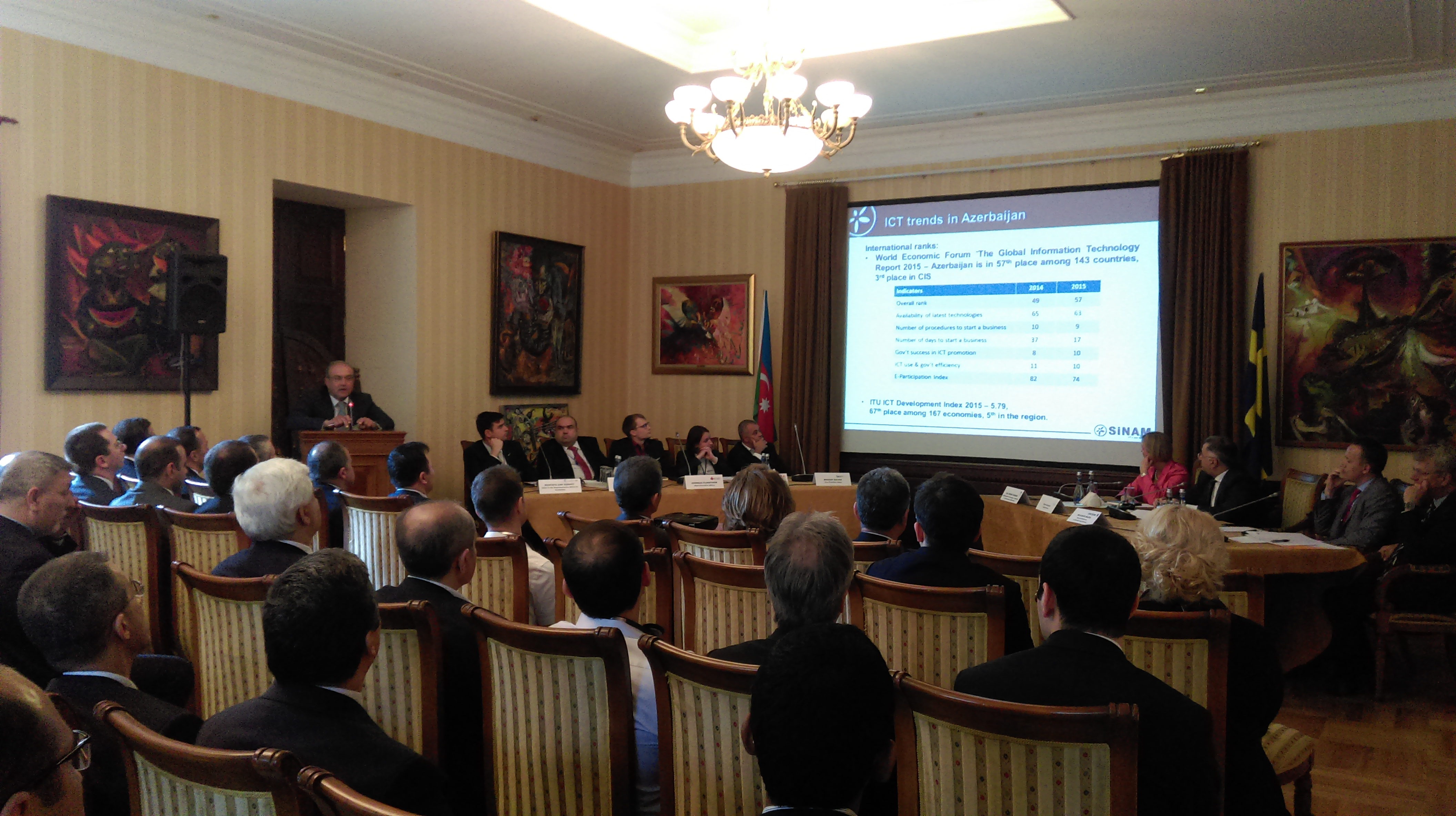 The president of SINAM Elchin Aliyev made a speech at Azerbaijan-Sweden business forum on ICT